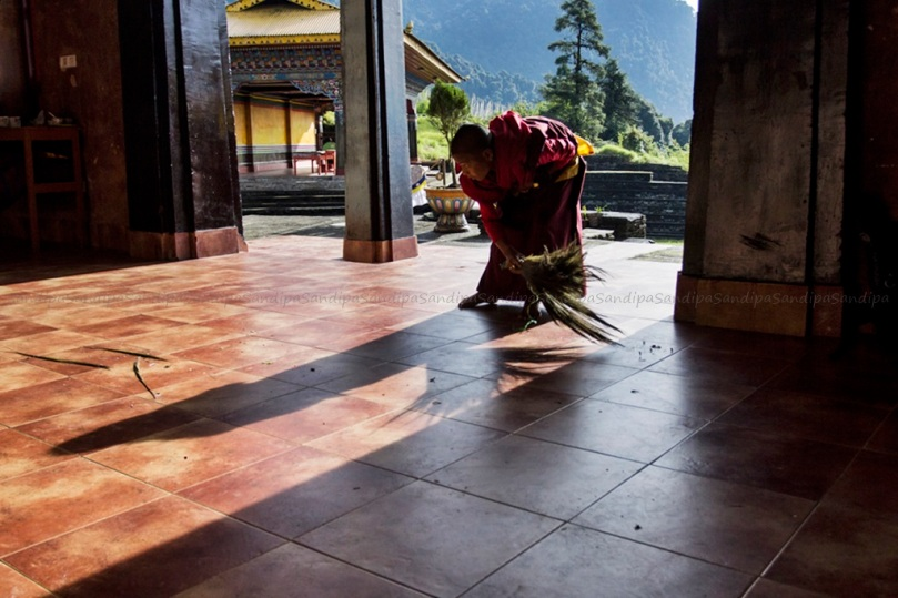 #monastery, Karma Theckhling Monastery , #lama, #west sikkim, #ravangla, Morning, #sweeping